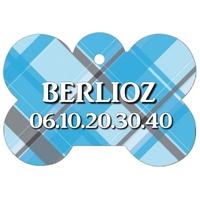 Médaille pour chien A Carreaux bleus personnalisée avec nom, numéro de téléphone