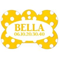 Médaille pour chien A pois jaune personnalisée avec nom, numéro de téléphone