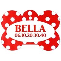 Médaille pour chien A pois rouge personnalisée avec nom, numéro de téléphone