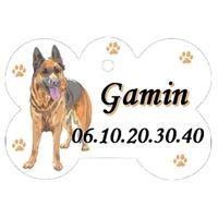 Médaille pour chien Berger allemand personnalisée avec nom, numéro de téléphone