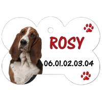 Médaille pour chien Basset Hound personnalisée avec nom, numéro de téléphone