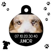 Médaille ronde chien Berger australien personnalisée avec nom et n° de téléphone