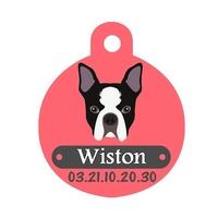 Médaille pour chien Bouledogue français personnalisée avec nom, numéro de téléphone