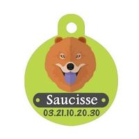Médaille pour chien Chowchow personnalisée avec nom, numéro de téléphone