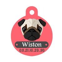 Médaille pour chien Carlin personnalisée avec nom, numéro de téléphone