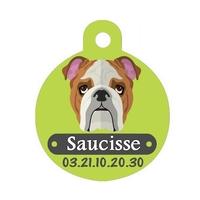 Médaille pour chien Bulldog personnalisée avec nom, numéro de téléphone