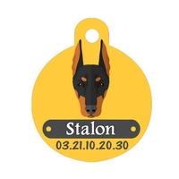 Médaille pour chien Doberman personnalisée avec nom, numéro de téléphone