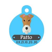Médaille pour chien Fox terrier personnalisée avec nom, numéro de téléphone