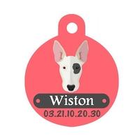 Médaille pour chien Bull terrier personnalisée avec nom, numéro de téléphone