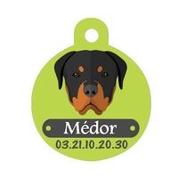 Médaille pour chien Rottweiler personnalisée avec nom, numéro de téléphone