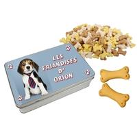 Boite à friandises pour chien Beagle personnalisée avec prénom au choix