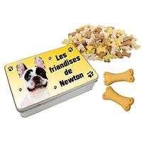 Boite à friandises pour chien Bouledogue français personnalisée avec prénom au choix