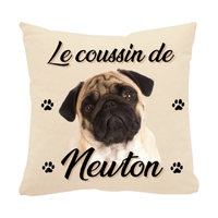 Coussin pour chien Carlin personnalisé avec le nom de votre animal