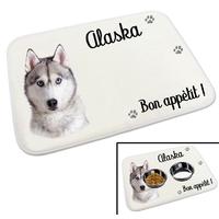 Tapis gamelle pour chien Husky personnalisé avec le nom de votre animal
