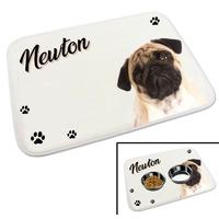 Tapis gamelle pour chien Carlin personnalisé avec le nom de votre animal