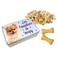 Boite à friandises pour chien Loulou de Poméranie personnalisée avec prénom au choix