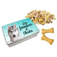 Boite à friandises pour chien Husky personnalisée avec prénom au choix