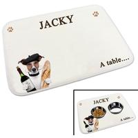 Tapis gamelle pour chien Jack russel personnalisé avec le nom de votre animal