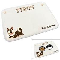 Tapis gamelle pour chien personnalisé avec le nom de votre animal