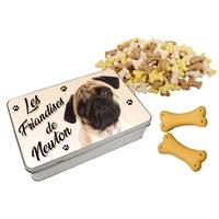 Boite à friandises pour chien Carlin personnalisée avec prénom au choix
