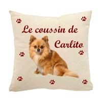 Coussin pour chien Spitz personnalisé avec le nom de votre animal