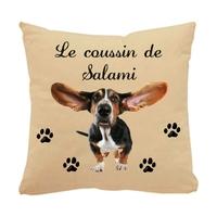 Coussin pour chien Basset hound personnalisé avec le nom de votre animal