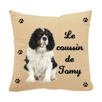 Coussin pour chien Cavalier king charles personnalisé avec le nom de votre animal