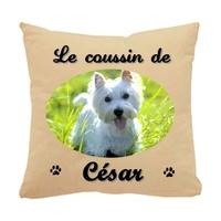 Coussin pour chien Westie personnalisé avec le nom de votre animal