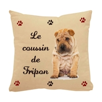Coussin pour chien Sharpei personnalisé avec le nom de votre animal
