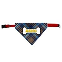 Collier bandana chien A carreaux personnalisé avec le nom de votre animal