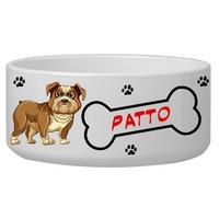 Gamelle pour chien Bulldog personnalisée avec le nom de votre animal