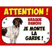 Plaque en aluminium Attention au chien Braque danois