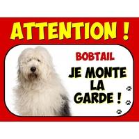 Plaque en aluminium Attention au chien Bobtail