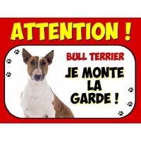 Plaque en aluminium Attention au chien Bull terrier