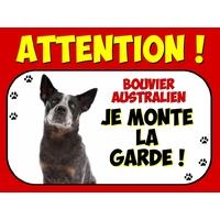 Plaque en aluminium Attention au chien Bouvier australien