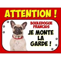 Plaque en aluminium Attention au chien Bouledogue français