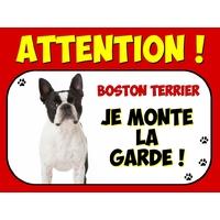 Plaque en aluminium Attention au chien Boston terrier