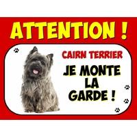 Plaque en aluminium Attention au chien Cairn terrier