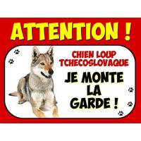 Plaque en aluminium Attention au chien Chien loup