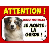 Plaque en aluminium Attention au chien Berger australien