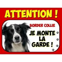 Plaque en aluminium Attention au chien Border collie