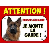 Plaque en aluminium Attention au chien Berger allemand