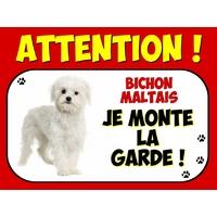 Plaque en aluminium Attention au chien Bichon maltais
