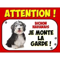 Plaque en aluminium Attention au chien Bichon havanais