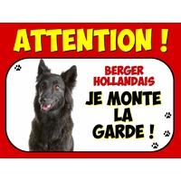 Plaque en aluminium Attention au chien Berger hollandais