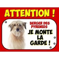 Plaque en aluminium Attention au chien Berger des pyrénées
