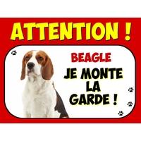 Plaque en aluminium Attention au chien Beagle