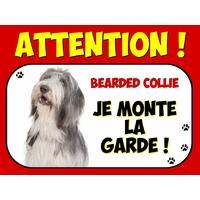 Plaque en aluminium Attention au chien Bearded collie