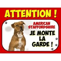 Plaque en aluminium Attention au chien American staffordshire