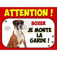 Plaque en aluminium Attention au chien Boxer